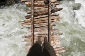 Ausblick auf den angeschwollenen Kanka-Fluss